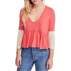 Free People Heart of Mine Colorblock Cotton Top L